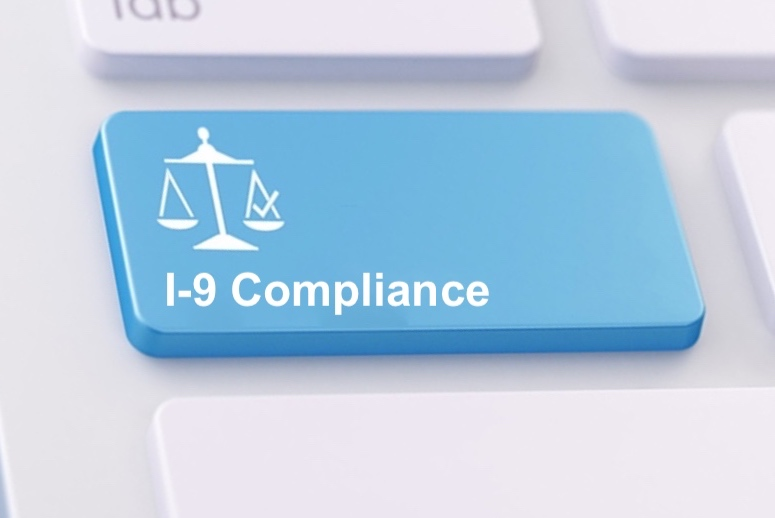 """Computer key that says """"I-9 Compliance"""""""