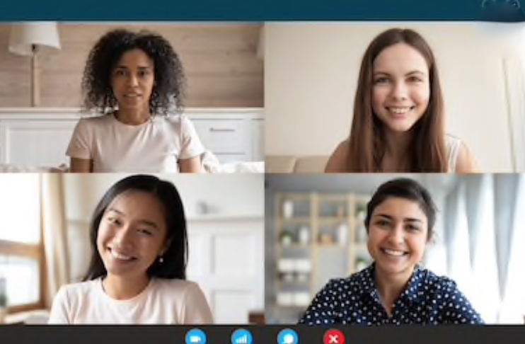 Zoom call with four women on the screen