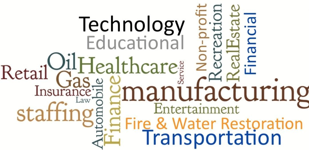 Word cloud with of words related to manufacturing