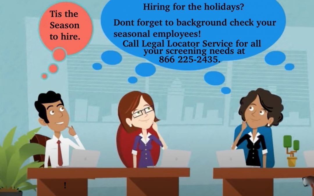 Illustration of coworkers talking about hiring for the holidays