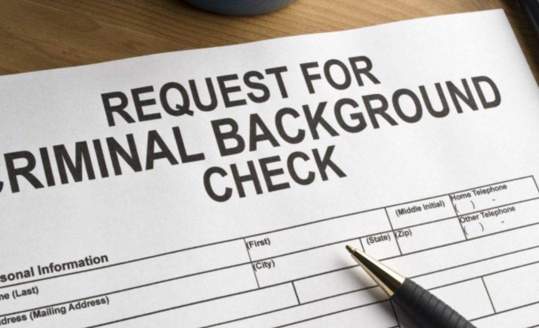 Image of request form for criminal background checks