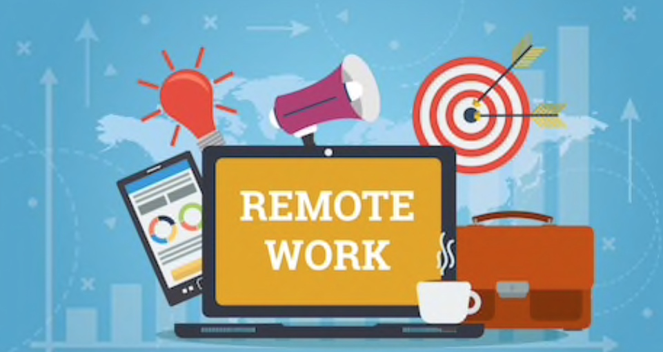 """Illustration of laptop with words """"Remote Work"""""""