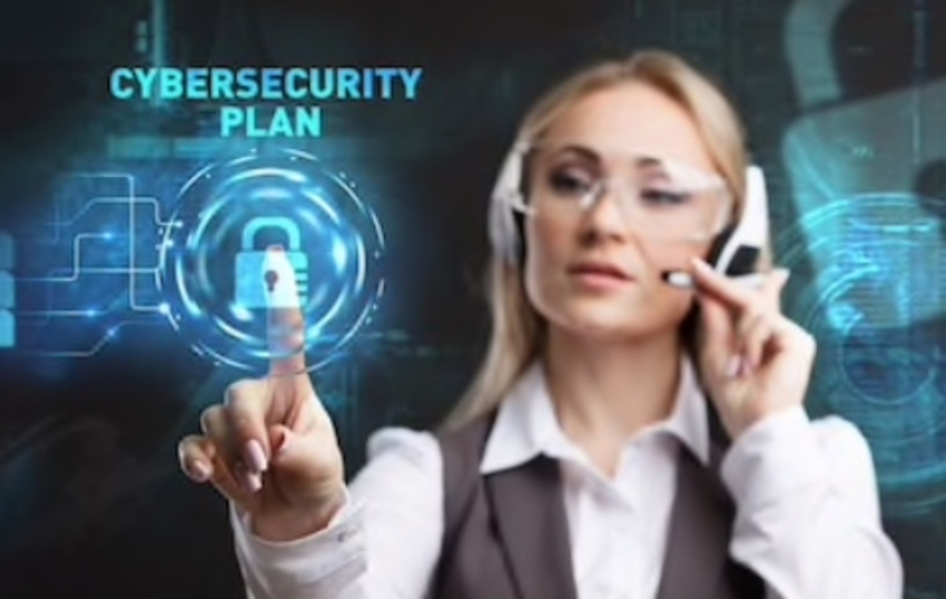 Woman on headset selecting cyber security plan