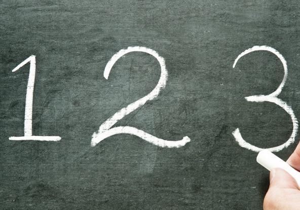 1, 2, 3 written on chalkboard