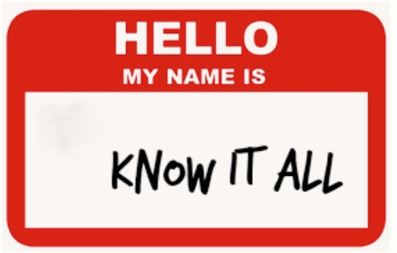 "Name tag with ""Know it All"" written as the name"