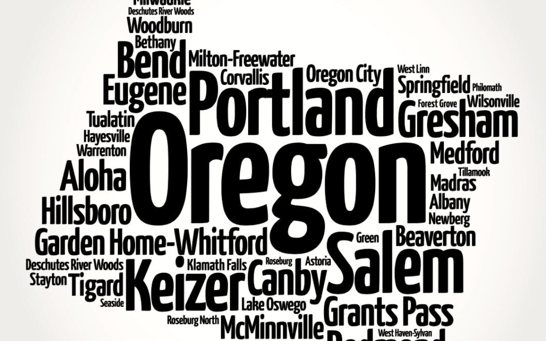 Word cloud inside the shape of Oregon with city names