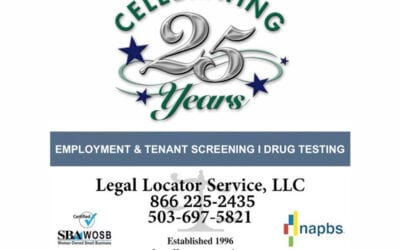 Legal Locator Service is Celebrating  25 Years of Screening Excellence