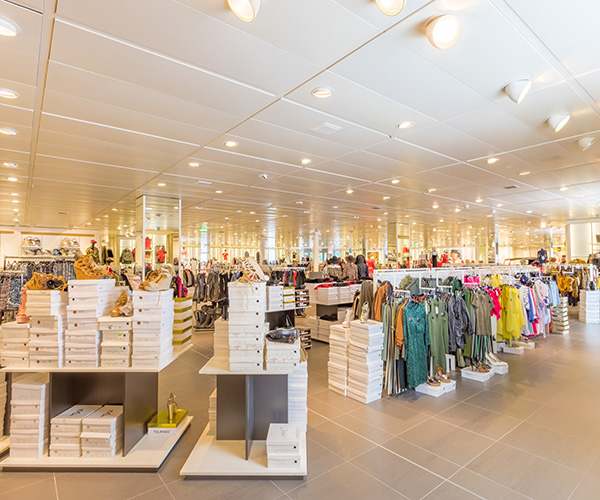 Shiny clean retail clothing store